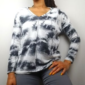 Bleach Dye Long Sleeve Knit Top